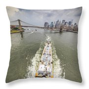 Aerial View - The Barge At The East River Throw Pillow