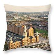 Aerial View Of A Baseball Stadium Throw Pillow