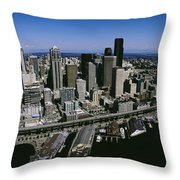 Aerial View Of A City, Seattle Throw Pillow