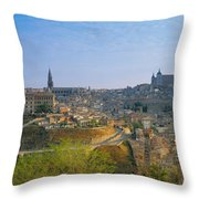 Aerial View Of A City, Toledo, Spain Throw Pillow