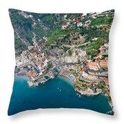 Aerial View Of A Town, Atrani, Amalfi Throw Pillow