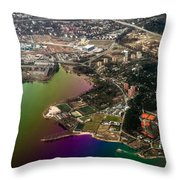 Aerial View Of Bay. Rainbow Earth Throw Pillow by Jenny Rainbow