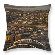 Aerial View Of Bellevue Skyline And Century Link  Throw Pillow