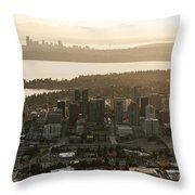Aerial View Of Bellevue Skyline Throw Pillow