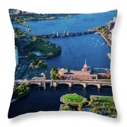 Aerial View Of Bridges Crossing Charles Throw Pillow