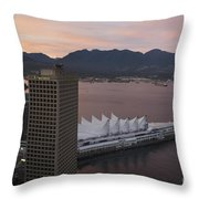 Aerial View Of Canada Place At Sunse Throw Pillow
