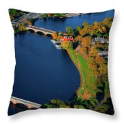 Aerial View Of Charles River With Views Throw Pillow