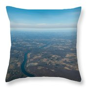 Aerial View Of Earth In Usa Throw Pillow