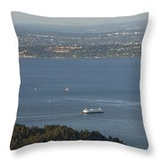 Aerial View Of Ferry Boats On Puget Sound Leaving Bainbridge Isl Throw Pillow
