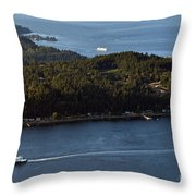 Aerial View Of Ferry Boats On Puget Sound One Leaving Bainbridge Throw Pillow