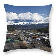 Aerial View Of Historic Downtown Truckee California Throw Pillow