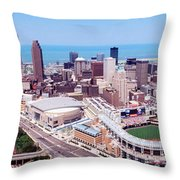 Aerial View Of Jacobs Field, Cleveland Throw Pillow
