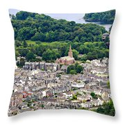 Aerial View Of Keswick In The Lake District Cumbria Throw Pillow