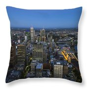 Aerial View Of Melbourne At Night Throw Pillow