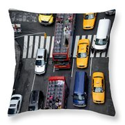 Aerial View Of New York City Traffic Throw Pillow