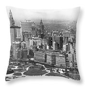 Aerial View Of Nyc Battery Throw Pillow