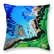 Aerial View Of Pebble Beach Throw Pillow