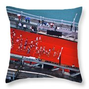 Aerial View Of People Running Throw Pillow