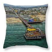 Aerial View Of Santa Monica Pier Throw Pillow