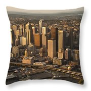 Aerial View Of Seattle Skyline Along Waterfront Throw Pillow