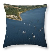 Aerial View Of Seattle Skyline With Sailboat Race On Puget Sound Throw Pillow