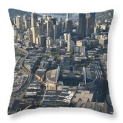 Aerial View Of Seattle Skyline With The Pro Sports Stadiums Throw Pillow