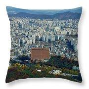 Aerial View Of Seoul South Korea Throw Pillow
