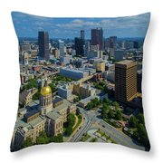 Aerial View Of Skyline And Georgia Throw Pillow