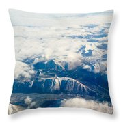 Aerial View Of Snowcapped Mountains In Bc Canada Throw Pillow