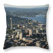 Aerial View Of Space Needle And Lake Union Throw Pillow