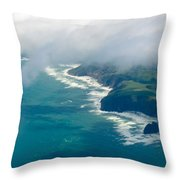 Aerial View Of Tasman Sea Shore Nz North Island Throw Pillow