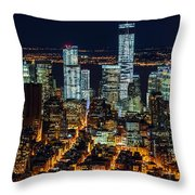 Aerial View Of The Lower Manhattan Skyscrapers By Night Throw Pillow