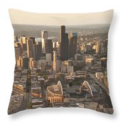 Aerial View Of The Seattle Skyline With Stadiums Throw Pillow