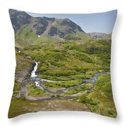 Aerial View Of Waterfall And River In Throw Pillow