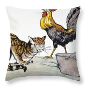 Aesop: Cat, Cock, And Mouse Throw Pillow