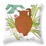 Aesop: Crow & Pitcher Throw Pillow