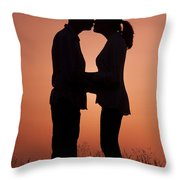 Affectionate Couple At Sunset In Profile  Throw Pillow
