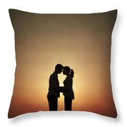 Affectionate Couple At Sunset In Silhouette Throw Pillow