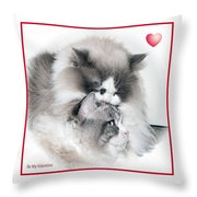 Affectionate Felines Throw Pillow