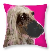 Afghan Hound Pink Throw Pillow