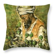 Afghani Harvest - Watercolor Throw Pillow