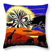 Africa At Sunset  Throw Pillow