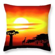 Africa Sunset Throw Pillow