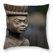 African Aging Wooden Sculpture Throw Pillow