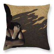 African Boy, Bare-chested, Arms Crossed Throw Pillow