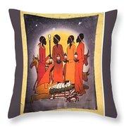 African Christmas Nativity Throw Pillow