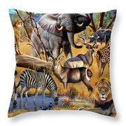 African Collage Throw Pillow by Cynthie Fisher