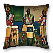 African Drummers Throw Pillow