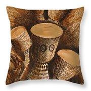 African Drums Throw Pillow