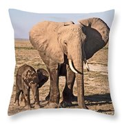 African Elephant Mother And Calf Throw Pillow